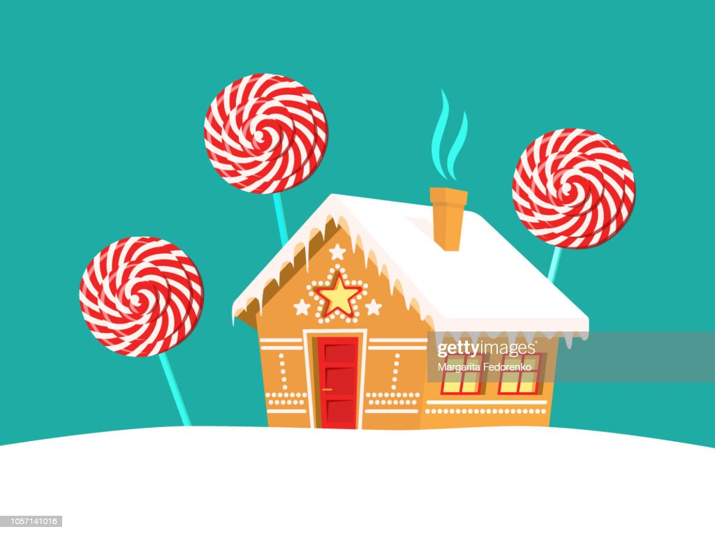 Gingerbread house and lollipop trees around it. Christmas, new year, winter holidays card