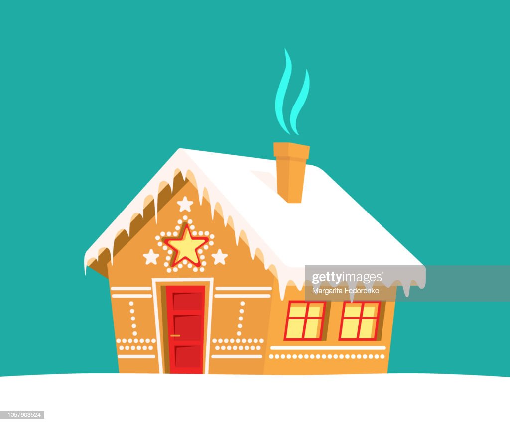 Gingerbread house. Christmas, new year, winter holidays card