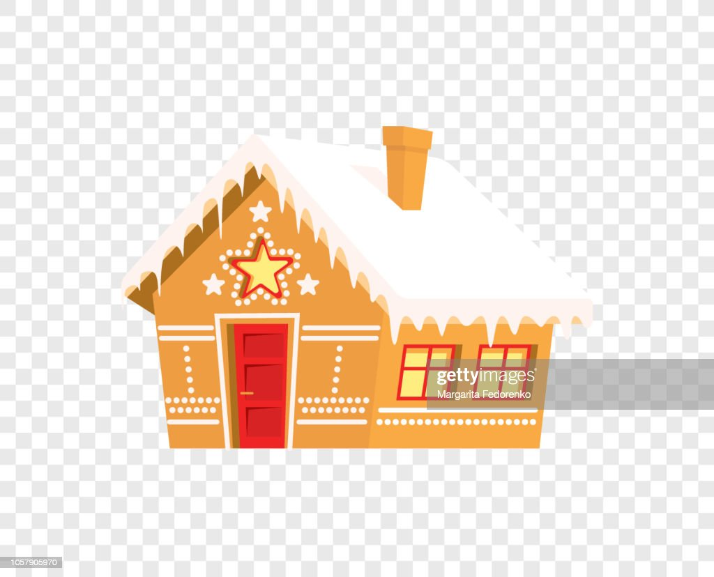 Gingerbread house isolated - print for Christmas winter holidays card
