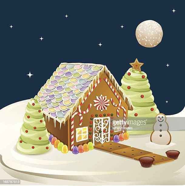 gingerbread house scene - gingerbread house stock illustrations, clip art, cartoons, & icons
