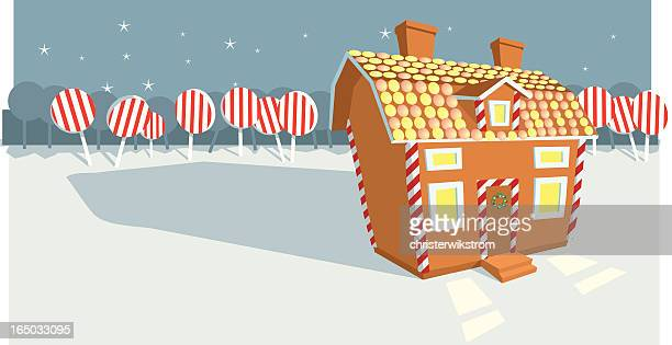 gingerbread house - gingerbread house stock illustrations, clip art, cartoons, & icons