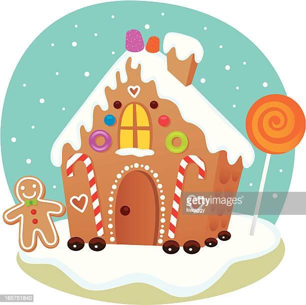 ilustraciones, imágenes clip art, dibujos animados e iconos de stock de casa de galleta de jengibre - golosina
