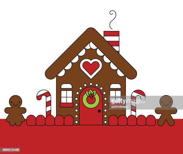 gingerbread house with gingerbread people - gingerbread house stock illustrations, clip art, cartoons, & icons