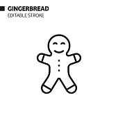 gingerbread line icon outline vector symbol