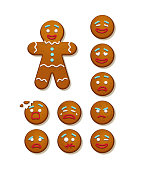 Gingerbread man and set of gingerbread man faces. Vector Christmas and New Year holiday elements.