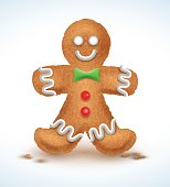 Gingerbread man decorated colored icing. Holiday cookie in shape of