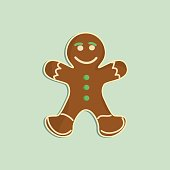 Gingerbread man decorated colored icing. Holiday cookie