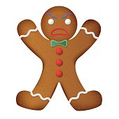 Gingerbread man decorated. Funny and angry