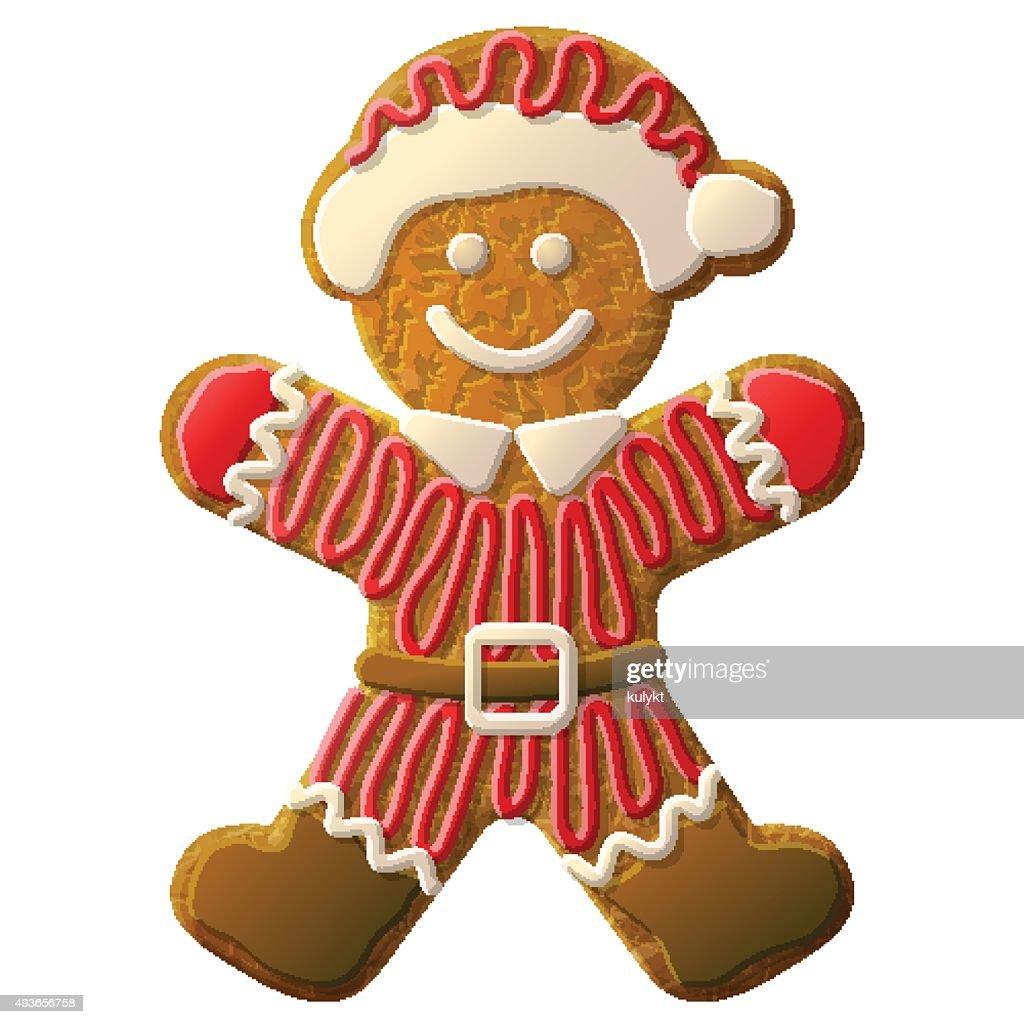 Gingerbread man dressed in Santa Claus suit