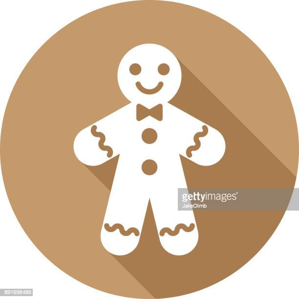 gingerbread man icon silhouette - gingerbread man stock illustrations