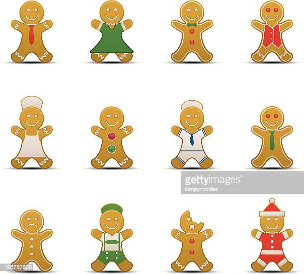 gingerbread man icons - gingerbread man stock illustrations