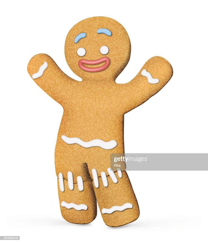 Gingerbread man isolated on white background. Vector illustration