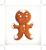 Gingerbread man, vector icon