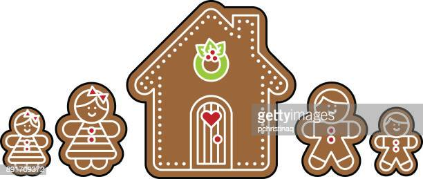 gingerbread people with house - gingerbread house stock illustrations, clip art, cartoons, & icons