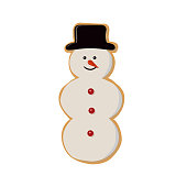Gingerbread snowman isolated on white background