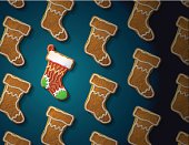 Gingerbreads in shape of christmas stocking with icing