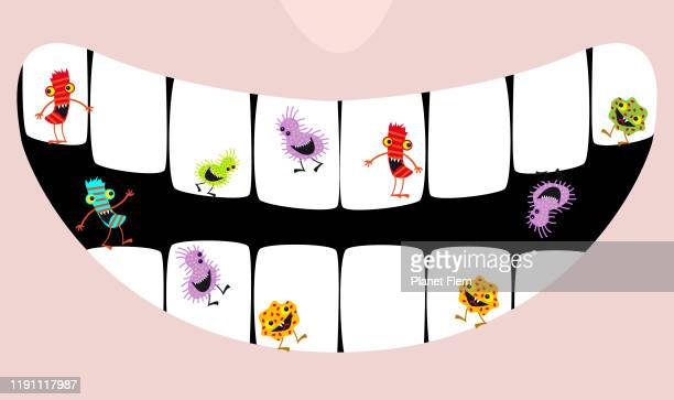 gingivitis bacteria - brushing teeth stock illustrations