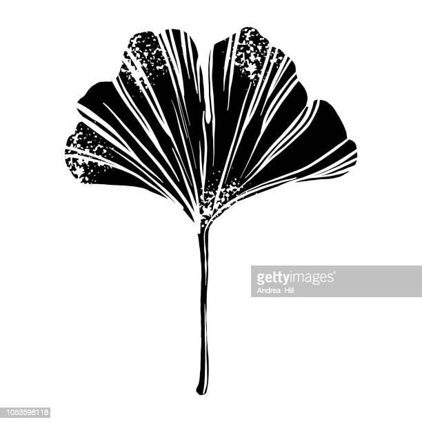 Ginkgo Leaf Linocut Woodcut Vector Illustration