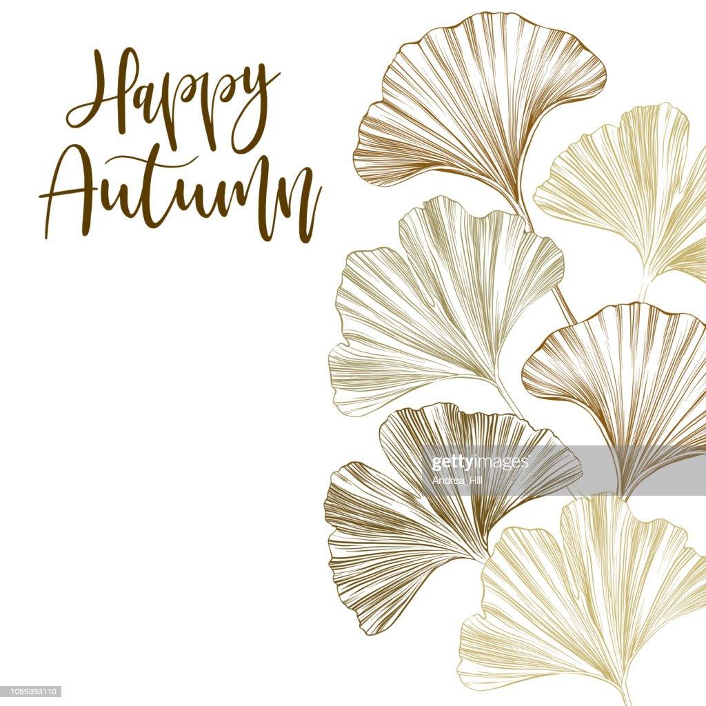 Ginkgo Leaf Sketch Vector Illustration
