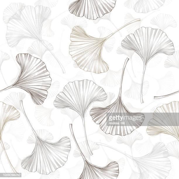 イチョウ葉のスケッチのシームレスなパターン ベクトル - 漢方薬点のイラスト素材/クリップアート素材/マンガ素材/アイコン素材