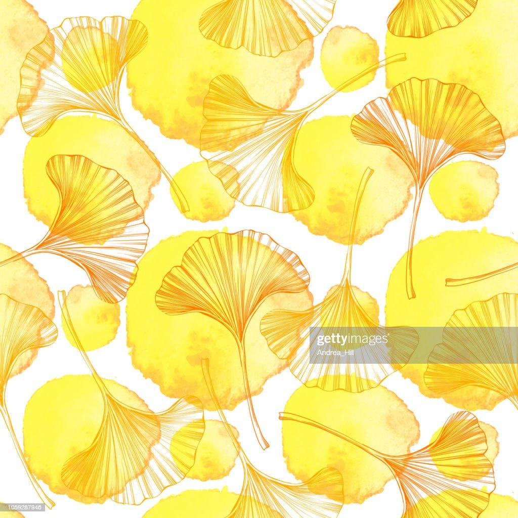 Ginkgo Leaf Sketch Vector Seamless Pattern