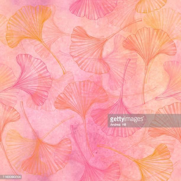 イチョウ葉ベクトル水彩とインクシームレスパターン - 漢方薬点のイラスト素材/クリップアート素材/マンガ素材/アイコン素材