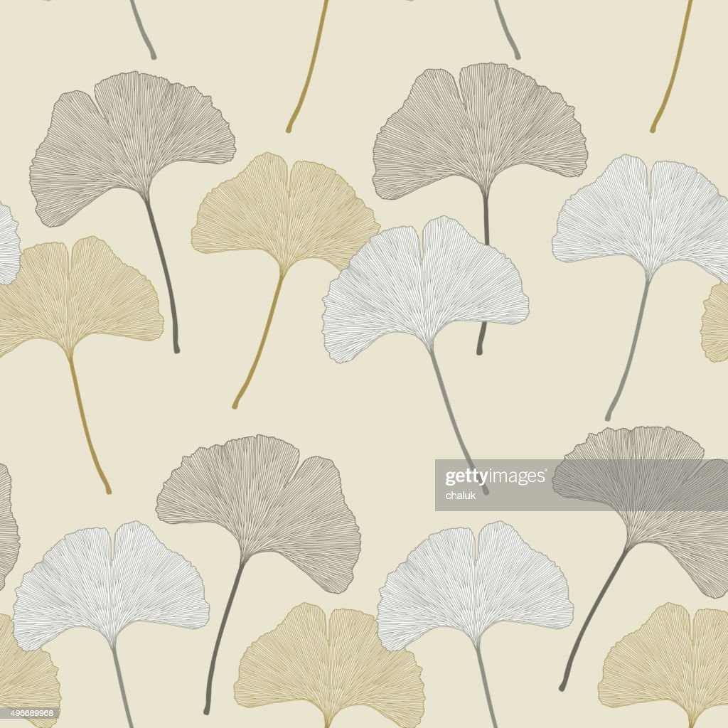 Ginko leaves floral imprint ornament