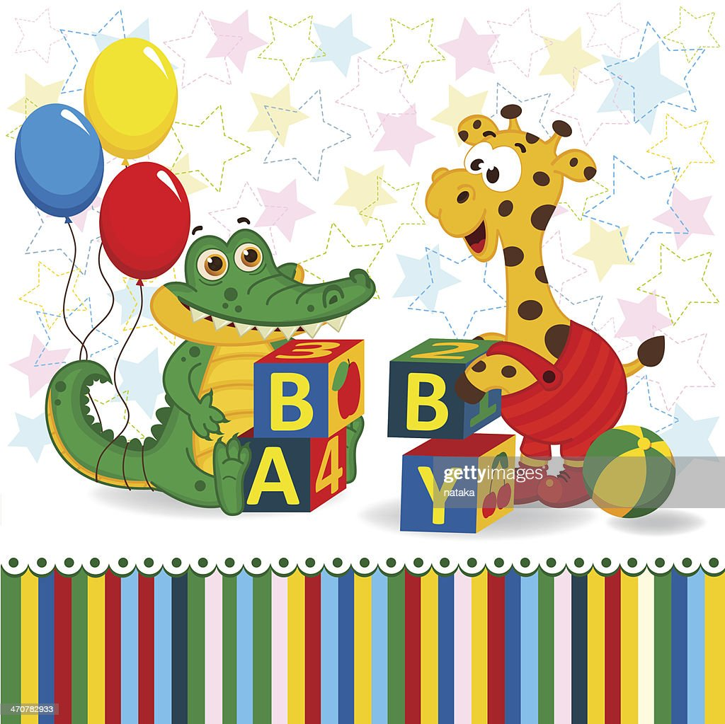 giraffe and crocodile baby blocks