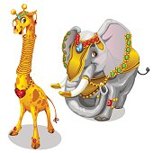 Giraffe and elephant decorated precious jewelry