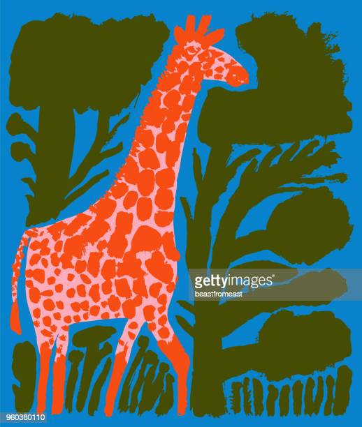 Giraffe between bushes and trees