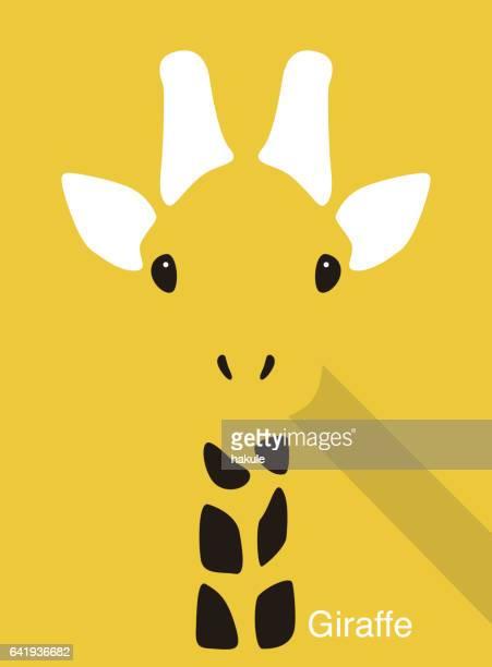 illustrations, cliparts, dessins animés et icônes de visage, vecteur d'icône visage plat animaux de dessin animé girafe - girafe