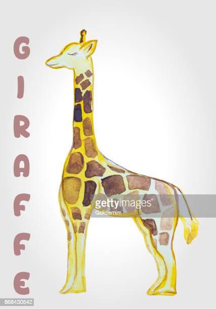 Giraffe Clip Art, Watercolor Illustration, isolated on white background