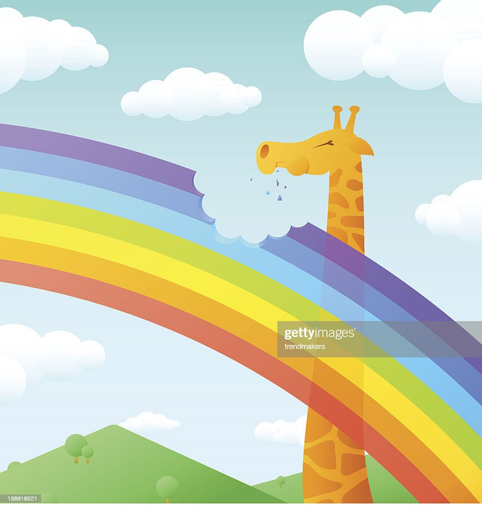 Giraffe eating rainbow : stock illustration