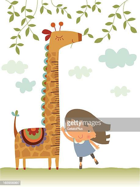 giraffe growth chart - child growth chart stock illustrations, clip art, cartoons, & icons