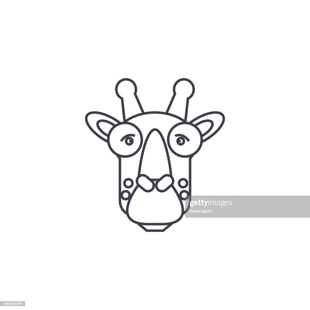 giraffe head vector line icon, sign, illustration on background, editable strokes