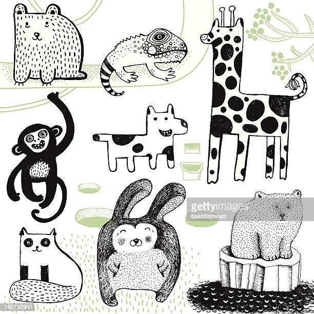 Giraffe, rabbit, polar bear, monkey, dog, bear and chameleon.