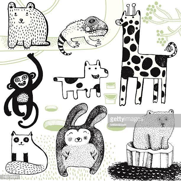 illustrazioni stock, clip art, cartoni animati e icone di tendenza di giraffa, coniglio, orso polare, scimmie, cani, orsetto e semplice camaleonte. - fauna selvatica