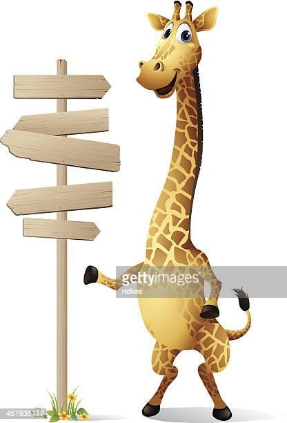 illustrations, cliparts, dessins animés et icônes de girafe-panneau - girafe