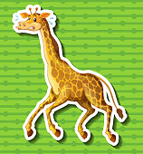 Giraffe running away on green background
