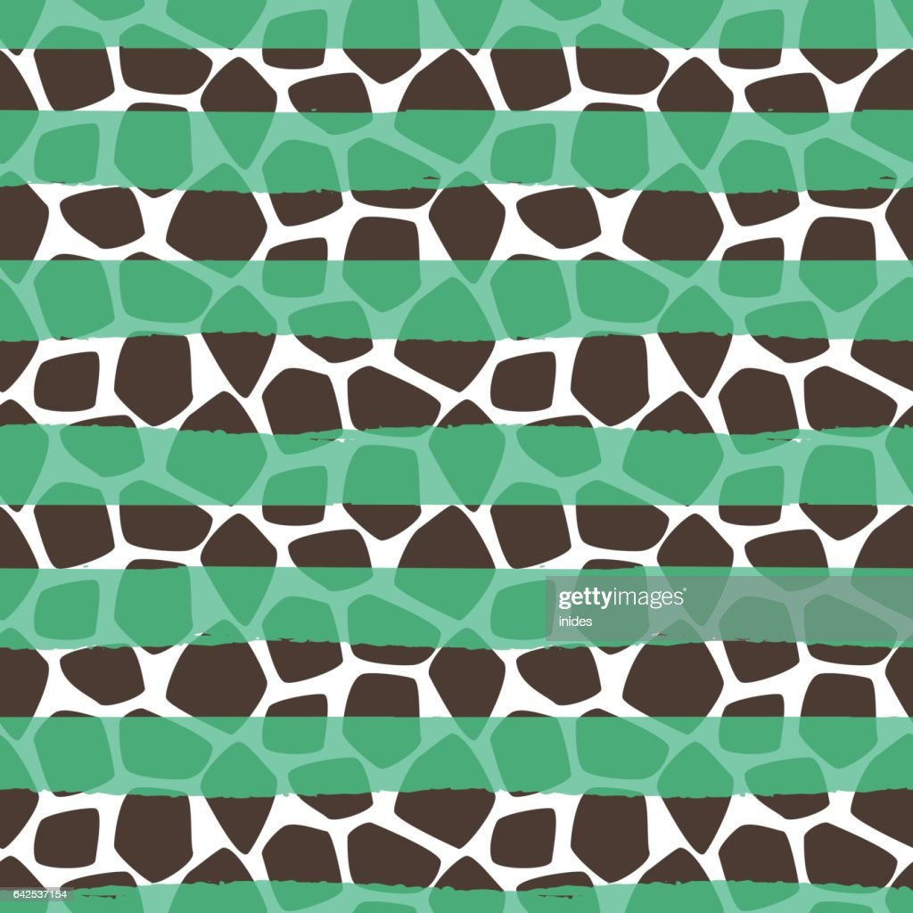Giraffe skin vector seamless pattern. Animal texture stains with green strokes background