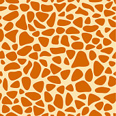 Giraffe texture pattern seamless repeating orange and yellow, safari, zoo, jungle background. Vector