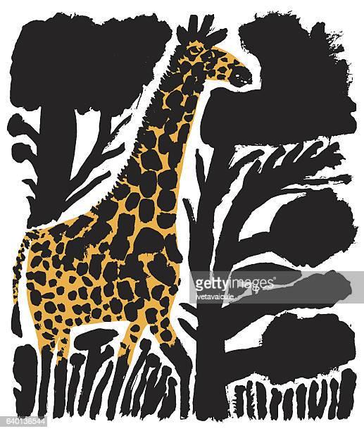 giraffe - savannah stock illustrations, clip art, cartoons, & icons