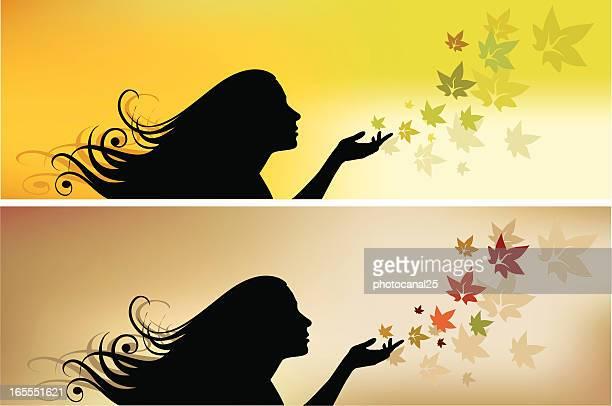 ilustrações de stock, clip art, desenhos animados e ícones de outono menina e - mulheres jovens