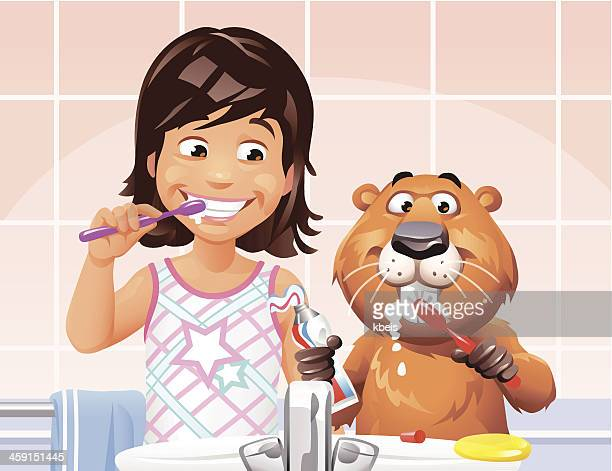 Girl and Beaver Brushing Teeth