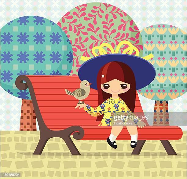 ilustraciones, imágenes clip art, dibujos animados e iconos de stock de chica y birdie - patchwork