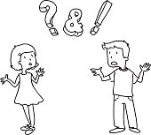 girl and boy confused, not knowing the answer