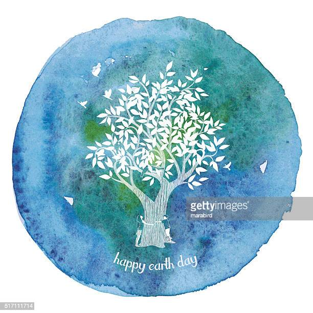 girl and boy hugging tree on watercolor paint circle - earth day stock illustrations