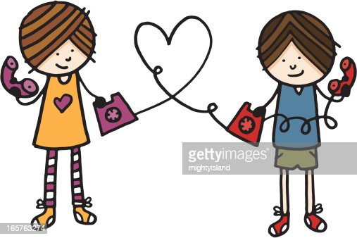 Girl And Boy In Love Talking On The Phone Vector Art ...