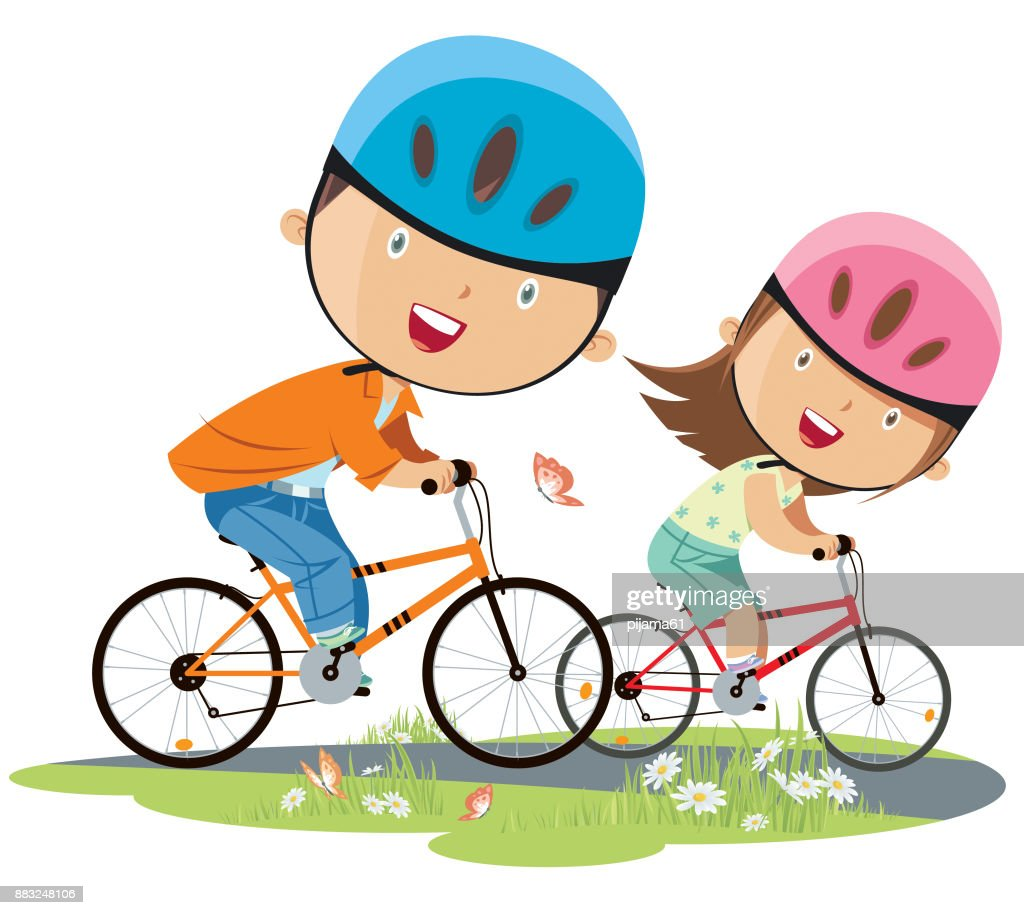 girl and boy on bicycle : stock illustration