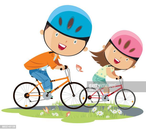 girl and boy on bicycle - bicycle stock illustrations